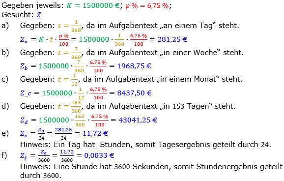 Zinsrechnung Zinsen berechnen Lösungen zum Aufgabensatz 01 Blatt 2/2 Fortgeschritten Bild A2201L01/© by www.fit-in-mathe-online.de