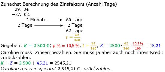 Zinsrechnung Zinsen berechnen Lösungen zum Aufgabensatz 07 Blatt 2/2 Fortgeschritten Bild A2207L01/© by www.fit-in-mathe-online.de