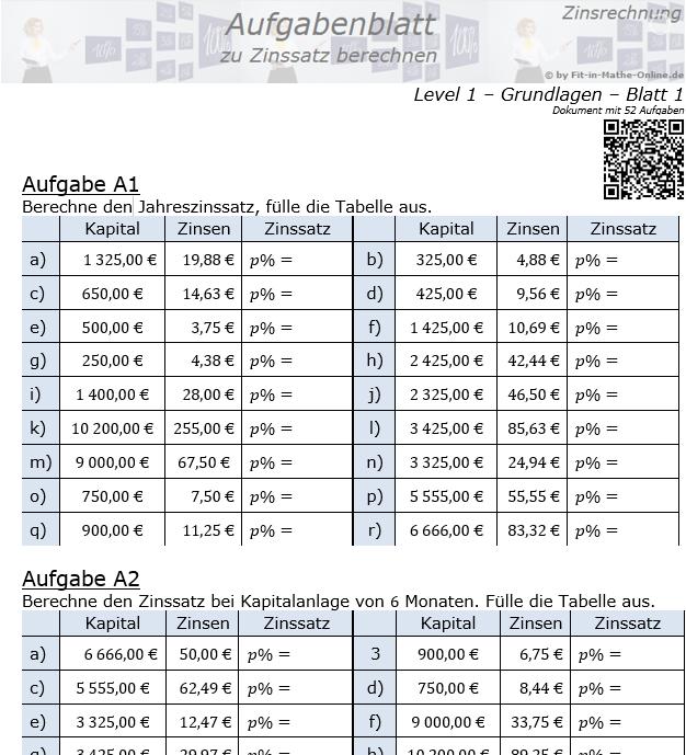 Zinssatz berechnen in der Zinsrechnung Aufgabenblatt 1/1 / © by Fit-in-Mathe-Online.de