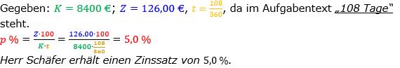 Zinsrechnung Zinssatz berechnen Lösungen zum Aufgabensatz 06 Blatt 1/1 Grundlagen Bild A1106L01/© by www.fit-in-mathe-online.de