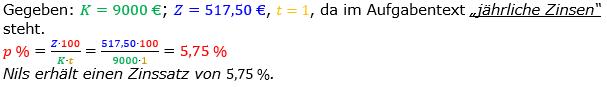 Zinsrechnung Zinssatz berechnen Lösungen zum Aufgabensatz 07 Blatt 1/1 Grundlagen Bild A1107L01/© by www.fit-in-mathe-online.de