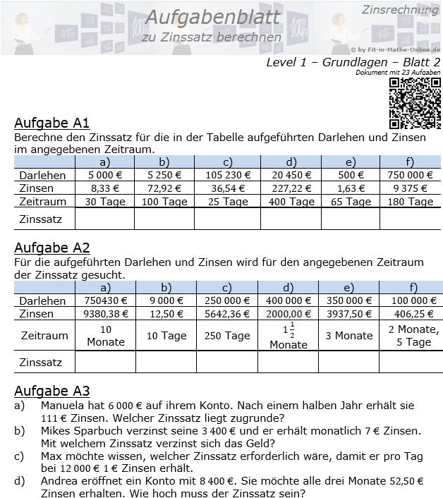 Zinssatz berechnen in der Zinsrechnung Aufgabenblatt 1/2 / © by Fit-in-Mathe-Online.de