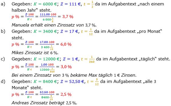 Zinsrechnung Zinssatz berechnen Lösungen zum Aufgabensatz 03 Blatt 1/2 Grundlagen Bild A1203L01/© by www.fit-in-mathe-online.de