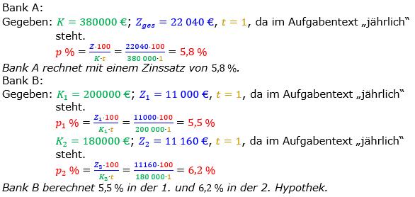 Zinsrechnung Zinssatz berechnen Lösungen zum Aufgabensatz 04 Blatt 1/2 Grundlagen Bild A1204L01/© by www.fit-in-mathe-online.de