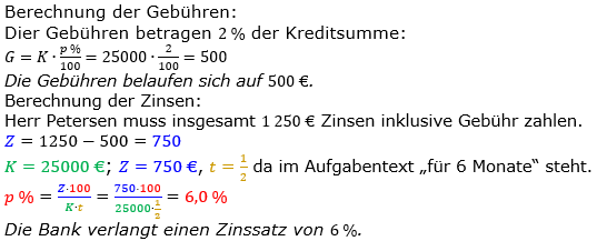 Zinsrechnung Zinssatz berechnen Lösungen zum Aufgabensatz 05 Blatt 1/2 Grundlagen Bild A1205L01/© by www.fit-in-mathe-online.de