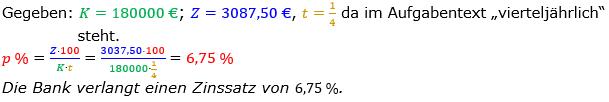 Zinsrechnung Zinssatz berechnen Lösungen zum Aufgabensatz 06 Blatt 1/2 Grundlagen Bild A1206L01/© by www.fit-in-mathe-online.de