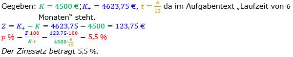 Zinsrechnung Zinssatz berechnen Lösungen zum Aufgabensatz 07 Blatt 1/2 Grundlagen Bild A1207L01/© by www.fit-in-mathe-online.de