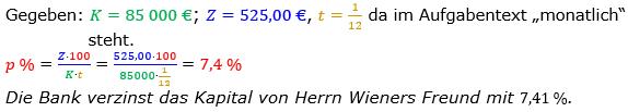 Zinsrechnung Zinssatz berechnen Lösungen zum Aufgabensatz 09 Blatt 1/2 Grundlagen Bild A1209L01/© by www.fit-in-mathe-online.de