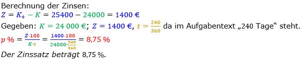 Zinsrechnung Zinssatz berechnen Lösungen zum Aufgabensatz 10 Blatt 1/2 Grundlagen Bild A1210L01/© by www.fit-in-mathe-online.de