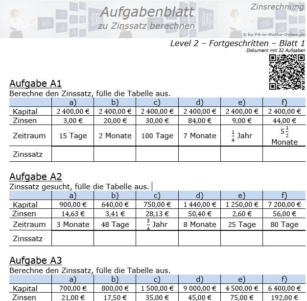 Zinssatz berechnen in der Zinsrechnung Aufgabenblatt 2/1 / © by Fit-in-Mathe-Online.de