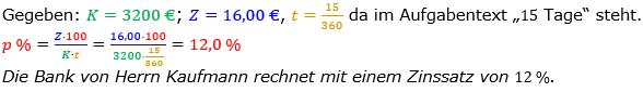 Zinsrechnung Zinssatz berechnen Lösungen zum Aufgabensatz 06 Blatt 2/1 Fortgeschritten Bild A2106L01/© by www.fit-in-mathe-online.de