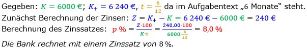 Zinsrechnung Zinssatz berechnen Lösungen zum Aufgabensatz 07 Blatt 2/1 Fortgeschritten Bild A2107L01/© by www.fit-in-mathe-online.de