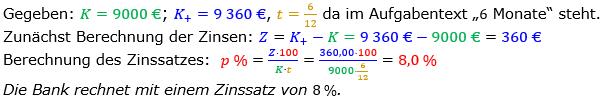 Zinsrechnung Zinssatz berechnen Lösungen zum Aufgabensatz 08 Blatt 2/1 Fortgeschritten Bild A2108L01/© by www.fit-in-mathe-online.de