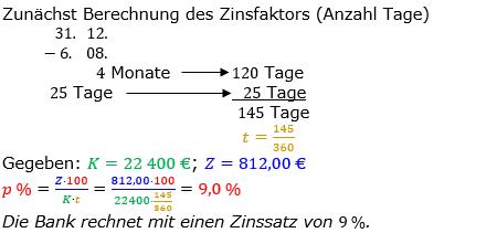 Zinsrechnung Zinssatz berechnen Lösungen zum Aufgabensatz 10 Blatt 2/1 Fortgeschritten Bild A2110L01/© by www.fit-in-mathe-online.de