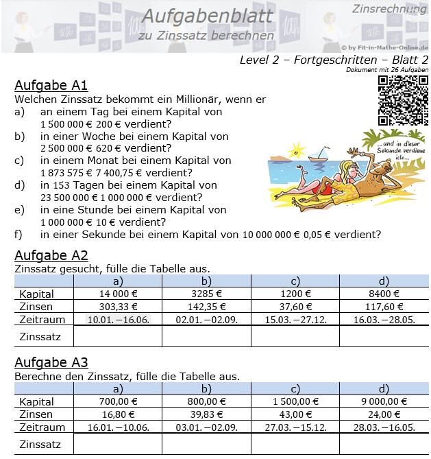 Zinssatz berechnen in der Zinsrechnung Aufgabenblatt 2/2 / © by Fit-in-Mathe-Online.de