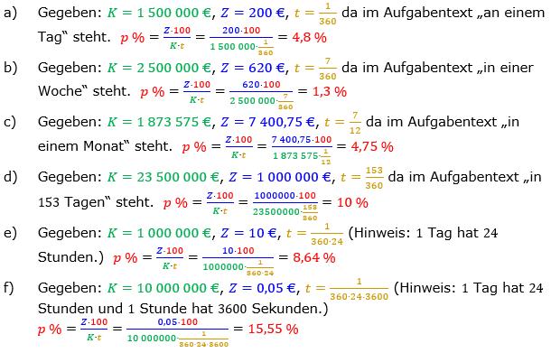 Zinsrechnung Zinssatz berechnen Lösungen zum Aufgabensatz 01 Blatt 2/2 Fortgeschritten Bild A2201L01/© by www.fit-in-mathe-online.de