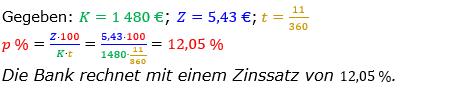 Zinsrechnung Zinssatz berechnen Lösungen zum Aufgabensatz 05 Blatt 2/2 Fortgeschritten Bild A2205L02/© by www.fit-in-mathe-online.de