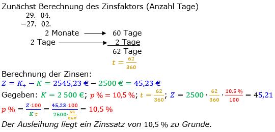 Zinsrechnung Zinssatz berechnen Lösungen zum Aufgabensatz 07 Blatt 2/2 Fortgeschritten Bild A2207L01/© by www.fit-in-mathe-online.de