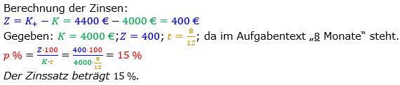 Zinsrechnung Zinssatz berechnen Lösungen zum Aufgabensatz 08 Blatt 2/2 Fortgeschritten Bild A2208L01/© by www.fit-in-mathe-online.de