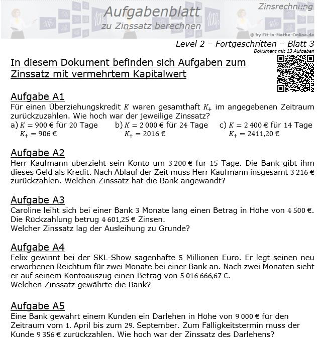 Zinssatz berechnen in der Zinsrechnung Aufgabenblatt 2/3 / © by Fit-in-Mathe-Online.de