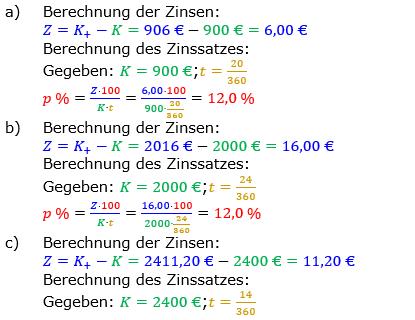 Zinsrechnung Zinssatz berechnen Lösungen zum Aufgabensatz 01 Blatt 2/3 Fortgeschritten Bild A2301L01/© by www.fit-in-mathe-online.de