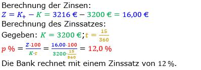 Zinsrechnung Zinssatz berechnen Lösungen zum Aufgabensatz 02 Blatt 2/3 Fortgeschritten Bild A2302L01/© by www.fit-in-mathe-online.de