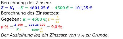 Zinsrechnung Zinssatz berechnen Lösungen zum Aufgabensatz 03 Blatt 2/3 Fortgeschritten Bild A2303L01/© by www.fit-in-mathe-online.de