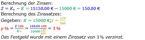 Zinsrechnung Zinssatz berechnen Lösungen zum Aufgabensatz 07 Blatt 2/3 Fortgeschritten Bild A2307L01/© by www.fit-in-mathe-online.de