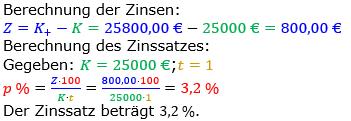 Zinsrechnung Zinssatz berechnen Lösungen zum Aufgabensatz 08 Blatt 2/3 Fortgeschritten Bild A2308L01/© by www.fit-in-mathe-online.de