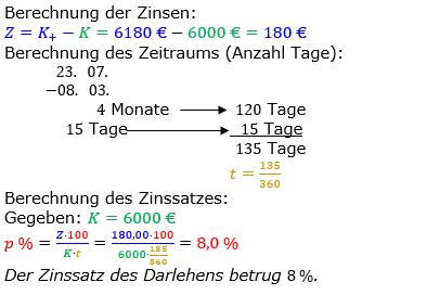 Zinsrechnung Zinssatz berechnen Lösungen zum Aufgabensatz 09 Blatt 2/3 Fortgeschritten Bild A2309L01/© by www.fit-in-mathe-online.de
