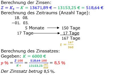 Zinsrechnung Zinssatz berechnen Lösungen zum Aufgabensatz 10 Blatt 2/3 Fortgeschritten Bild A2310L01/© by www.fit-in-mathe-online.de