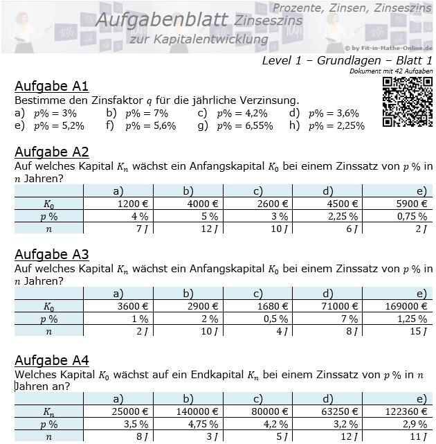 Kapitalentwicklung mit Zinseszinsen Aufgabenblatt 1/1 / © by Fit-in-Mathe-Online.de