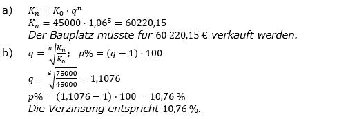 Zinseszinses Kapitalentwicklung Lösungen zum Aufgabensatz 12 Blatt 1/1 Grundlagen Bild 1/© by www.fit-in-mathe-online.de