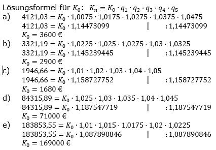 Zinseszinses Kapitalentwicklung Lösungen zum Aufgabensatz 5 Blatt 1/2 Grundlagen Bild 1/© by www.fit-in-mathe-online.de