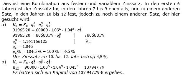 Zinseszinses Kapitalentwicklung Lösungen zum Aufgabensatz 9 Blatt 1/2 Grundlagen Bild 1/© by www.fit-in-mathe-online.de