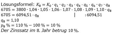 Zinseszinses Kapitalentwicklung Lösungen zum Aufgabensatz 10 Blatt 1/2 Grundlagen Bild 1/© by www.fit-in-mathe-online.de