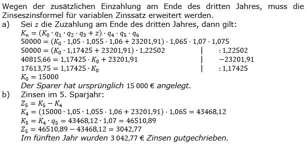 Zinseszinses Kapitalentwicklung Lösungen zum Aufgabensatz 14 Blatt 1/2 Grundlagen Bild 1/© by www.fit-in-mathe-online.de