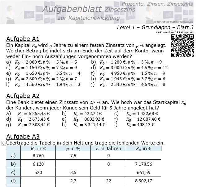 Kapitalentwicklung mit Zinseszinsen Aufgabenblatt 1/3 / © by Fit-in-Mathe-Online.de