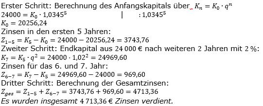Zinseszinses Kapitalentwicklung Lösungen zum Aufgabensatz 7 Blatt 1/3 Grundlagen Bild 1/© by www.fit-in-mathe-online.de
