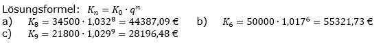 Zinseszinses Kapitalentwicklung Lösungen zum Aufgabensatz 9 Blatt 1/3 Grundlagen Bild 1/© by www.fit-in-mathe-online.de