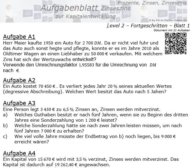Kapitalentwicklung mit Zinseszinsen Aufgabenblatt 2/1 / © by Fit-in-Mathe-Online.de