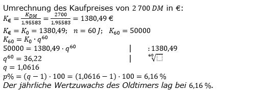 Zinseszinses Kapitalentwicklung Lösungen zum Aufgabensatz 1 Blatt 2/1 Fortgeschritten Bild 1/© by www.fit-in-mathe-online.de