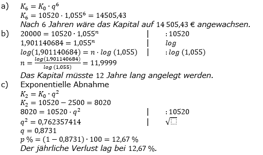 Zinseszinses Kapitalentwicklung Lösungen zum Aufgabensatz 5 Blatt 2/1 Fortgeschritten Bild 1/© by www.fit-in-mathe-online.de