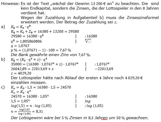 Zinseszinses Kapitalentwicklung Lösungen zum Aufgabensatz 6 Blatt 2/1 Fortgeschritten Bild 1/© by www.fit-in-mathe-online.de