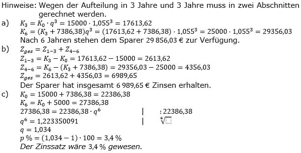 Zinseszinses Kapitalentwicklung Lösungen zum Aufgabensatz 7 Blatt 2/1 Fortgeschritten Bild 1/© by www.fit-in-mathe-online.de