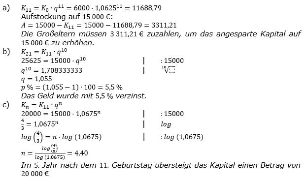 Zinseszinses Kapitalentwicklung Lösungen zum Aufgabensatz 8 Blatt 2/1 Fortgeschritten Bild 1/© by www.fit-in-mathe-online.de