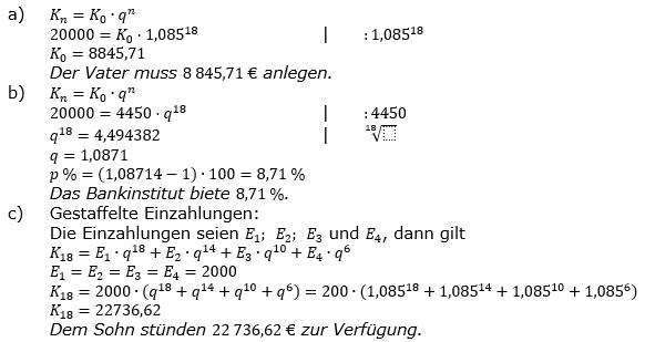 Zinseszinses Kapitalentwicklung Lösungen zum Aufgabensatz 9 Blatt 2/1 Fortgeschritten Bild 1/© by www.fit-in-mathe-online.de