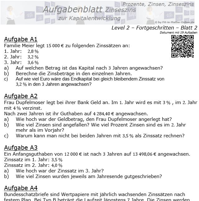 Kapitalentwicklung mit Zinseszinsen Aufgabenblatt 2/2 / © by Fit-in-Mathe-Online.de