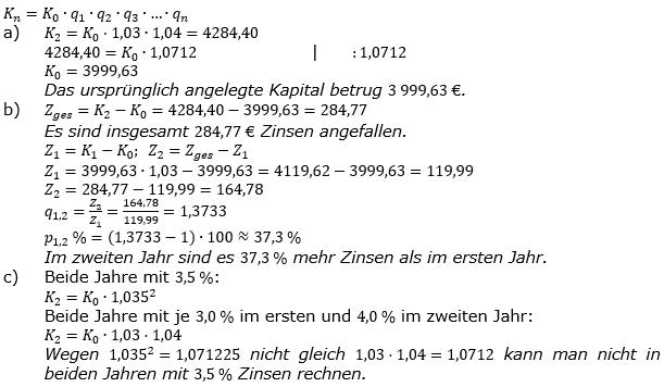 Zinseszinses Kapitalentwicklung Lösungen zum Aufgabensatz 2 Blatt 2/2 Fortgeschritten Bild 1/© by www.fit-in-mathe-online.de
