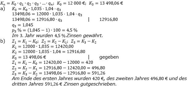 Zinseszinses Kapitalentwicklung Lösungen zum Aufgabensatz 3 Blatt 2/2 Fortgeschritten Bild 1/© by www.fit-in-mathe-online.de